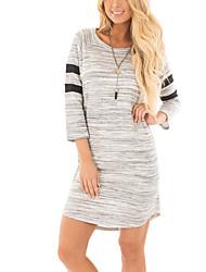 Tee Shirt Robe Femme Sortie Décontracté / Quotidien simple Chic de Rue,Couleur Pleine Col Arrondi Mini Manches 3/4 Polyester Printemps