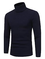 abordables -Homme Couleur Pleine Quotidien Décontracté Grandes Tailles Pullover, Manches Longues Col Roulé Polyester Hiver Automne