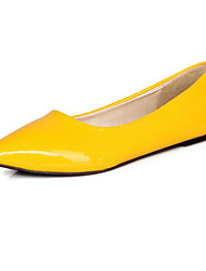 cheap -Women's Shoes Patent Leather Spring Fall Comfort Basic Pump Flats For Casual Black Yellow Red Blue Almond