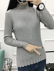 Normal Pullover Femme Décontracté / Quotidien simple,Couleur Pleine Col Roulé Manches Longues Nylon Printemps Fin Micro-élastique