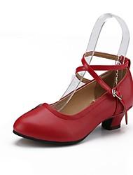 preiswerte -Damen Modern Echtes Leder Absätze Professionell Verschlussschnalle Kubanischer Absatz Gold Schwarz Silber Rot Maßfertigung
