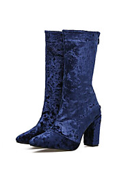 Women's Shoes Velvet Fall Winter Fashion Boots Combat Boots Slouch Boots Boots Chunky Heel Pointed Toe Mid-Calf Boots Split Joint For