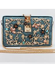 economico -Donna Sacchetti Nylon Pochette Perline Dettagli con cristalli Cerniera per Casual Per tutte le stagioni Blu Oro Rosa