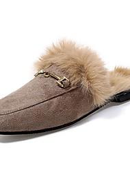 Women's Shoes Nubuck leather PU Fall Comfort Clogs & Mules Flat Heel For Casual Khaki Yellow Black