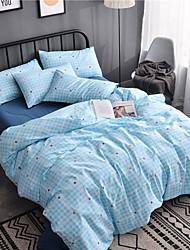 cheap -Duvet Cover Sets Geometric 4 Piece Cotton Reactive Print Cotton 1pc Duvet Cover 2pcs Shams 1pc Flat Sheet