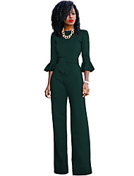 cheap -Women's Work Street chic Jumpsuit - Solid Colored Wide Leg / Spring / Fall / Flare Sleeve
