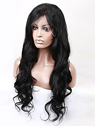 cheap -Women Human Hair Lace Wig Brazilian Human Hair 360 Frontal 150% Density With Baby Hair 360 Frontal Natural Wave Loose Wave Wig Black Black