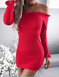 cheap -Women's Daily Club Sexy Bodycon Sheath Sweater Dress,Solid Boat Neck Above Knee Long Sleeves Cotton Winter Fall Mid Rise Micro-elastic