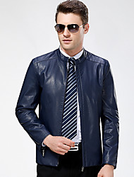 Men's Casual/Daily Vintage Fall Winter Leather Jackets,Solid Round Neck Long Sleeve Regular Lambskin