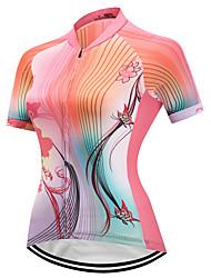 economico -FUALRNY® Per donna Manica corta Maglia da ciclismo - Rosa Bicicletta Maglietta/Maglia, Asciugatura rapida, Strisce riflettenti