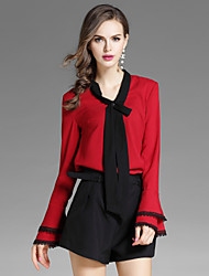 cheap -EWUS Women's Daily Going out Street chic Fall Blouse Pant Suits,Solid V Neck Long Sleeve Bow Polyester Inelastic