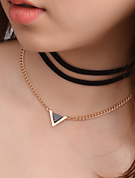 cheap -Women's Triangle Personalized Fashion Simple Style Layered Necklace Jewelry Flannelette Alloy Layered Necklace , Gift Casual
