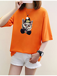 Women's Casual/Daily Simple T-shirt,Animal Print Round Neck Short Sleeves Cotton