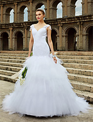 cheap -Mermaid / Trumpet V-neck Chapel Train Lace Tulle Wedding Dress with Beading Lace Tiered by LAN TING BRIDE®