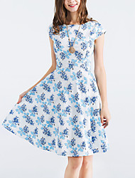 Women's Holiday Going out Vintage Street chic Sheath Swing Dress,Floral Round Neck Knee-length Short Sleeves Polyester Summer Fall High
