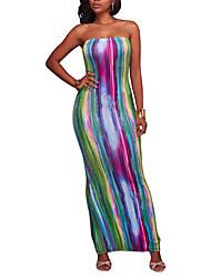 Feminino Bainha Vestido,Feriado Para Noite Sensual Moda de Rua Estampa Colorida Arco-Íris Sem Alças Longo Sem Manga Poliéster Verão Outono