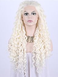 cheap -Women Synthetic Wig Lace Front Medium Length Long Curly Wavy Natural Wave Loose Wave Kinky Curly Water Wave Medium Blonde Beige Blonde
