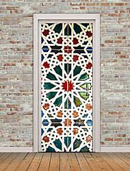 Kaleidoscope Color PVC Door Wall Stickers 3D DIY Door Window Mural Home Decoration Waterproof Wallpaper Blue Pattern Door Decal 77*200CM