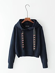 Women's Going out Casual/Daily Simple Cute Regular Pullover,Solid Hooded Long Sleeves Cotton Others Spring Fall Thin Thick Micro-elastic