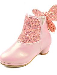 baratos -Para Meninas sapatos Glitter Couro Ecológico Outono Inverno Inovador Conforto Botas Laço Ziper Para Casamento Social Branco Roxo Rosa