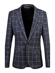 cheap -Men's Plus Size Work Casual Spring Fall BlazerPlaid Notch Lapel Long Sleeve Regular Cotton Spandex