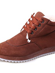 cheap -Women's Shoes Cashmere Fall Comfort Boots Flat Heel Round Toe Lace-up For Casual Light Brown Red Black