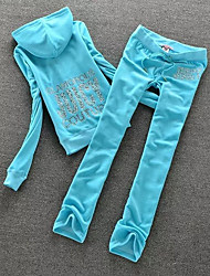 cheap -Women's Running Shirt With Pants - Fuchsia, Sky Blue, Royal Blue Sports Character Fleece Tracksuit / Coverall / Clothing Suit Yoga, Pilates, Running Long Sleeve Activewear Lightweight, Wearable