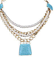 cheap -Women's Imitation Pearl Imitation Pearl Rhinestone Pendant Necklace  -  Fashion Adjustable Square Gray Light Blue Light Green Necklace For