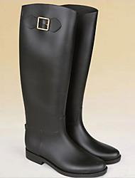 Для женщин Обувь КожаПВХ Весна Осень Резиновые сапоги Ботинки На толстом каблуке Сапоги до колена Назначение Повседневные Кофейный