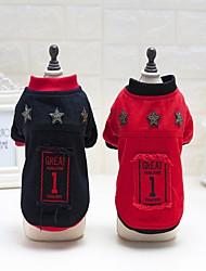 preiswerte -Katze Hund Mäntel Pullover Overall Trikot Pyjamas Weihnachten Hundekleidung Buchstabe & Nummer Schwarz Rot Baumwolle Nylon Kostüm Für