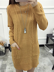 preiswerte -Damen Kunst-Pelz Langarm Lang Pullover-Solide