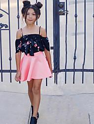 cheap -Girls' Print Clothing Set,Cotton Summer Short Sleeve Casual Black