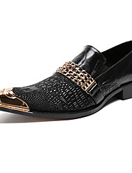 Men's Shoes Real Leather Nappa Leather Spring Fall Formal Shoes Comfort Novelty Loafers & Slip-Ons Rivet For Wedding Party & Evening Black