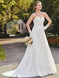 Sheath / Column Strapless Court Train Taffeta Wedding Dress with Appliques by LAN TING BRIDE®