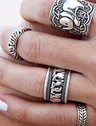 cheap -Women's Rings Set Knuckle Ring Metallic Floral Alloy Elephant Jewelry For Street