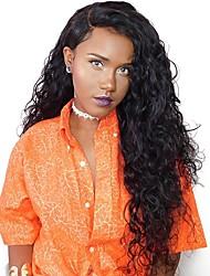 Недорогие -жен. Малазийские волосы Натуральные волосы 360 Лобовой 180% плотность С пушком Естественные кудри Парик Черный Средний