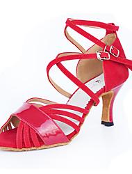 cheap -Women's Latin Shoes Synthetic Microfiber PU / Suede Heel Buckle High Heel Customizable Dance Shoes Red / Indoor