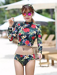 Women's Quick Dry Nylon Diving Suit Long Sleeves Top Bottoms-Swimming Beach Autumn/Fall Floral / Botanical