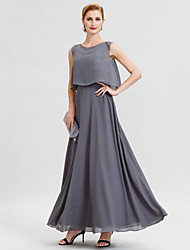 cheap -A-Line Jewel Neck Ankle Length Chiffon Sequined Mother of the Bride Dress with Beading Sashes / Ribbons by LAN TING BRIDE®