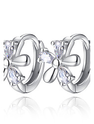 cheap -Women's Hoop Earrings Cubic Zirconia Sterling Silver Flower Jewelry Ceremony Valentine Costume Jewelry