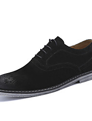 cheap -Men's Shoes Real Leather Suede Fall Winter Driving Shoes Formal Shoes Comfort Oxfords Lace-up For Wedding Party & Evening Khaki Black
