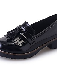 Women's Shoes PU Fall Comfort Loafers & Slip-Ons Chunky Heel Round Toe Tassel For Casual Burgundy Black
