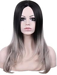 preiswerte -Synthetische Lace Front Perücken Glatt Wellen Mittelscheitel Dunkler Haaransatz Gefärbte Haarspitzen (Ombré Hair) Grau Schwarz Damen