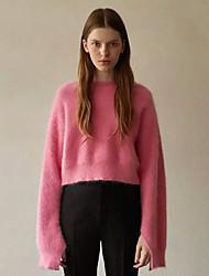 Standard Pullover Da donna-Casual Tinta unita Rotonda Manica lunga Cashmere Autunno Spesso Elasticizzato