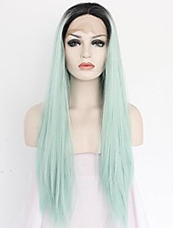 cheap -Women Synthetic Wig Lace Front Medium Length Long Natural Wave Body Wave Curly Straight Loose Wave Wavy Light Blue Lolita Wig Drag Wig