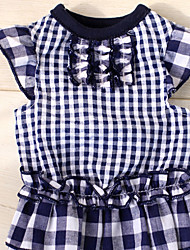 baratos -Cachorro Vestidos Roupas para Cães Xadrez Azul Escuro / Vermelho Algodão Ocasiões Especiais Para animais de estimação Verão Homens / Mulheres Casual