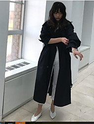 cheap -Women's Daily Simple Casual Fall Trench Coat,Solid Peaked Lapel Long Sleeve Long Others