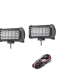 2PCS 54W 5400LM 6000K 3-Rows LED Work Light Cool White Flood Offroad Driving Light for Car/Boat/Headlight IP68 9-32V  2m 1-To-2 Wiring Harness Kit