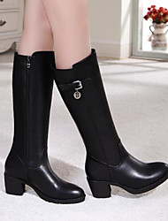 cheap -Women's Shoes PU Nappa Leather Winter Fashion Boots Slouch Boots Boots Chunky Heel Thigh-high Boots For Casual Black
