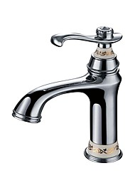 cheap -Contemporary Luxury Centerset High Quality Ceramic Valve Single Handle One Hole Chrome , Bathroom Sink Faucet